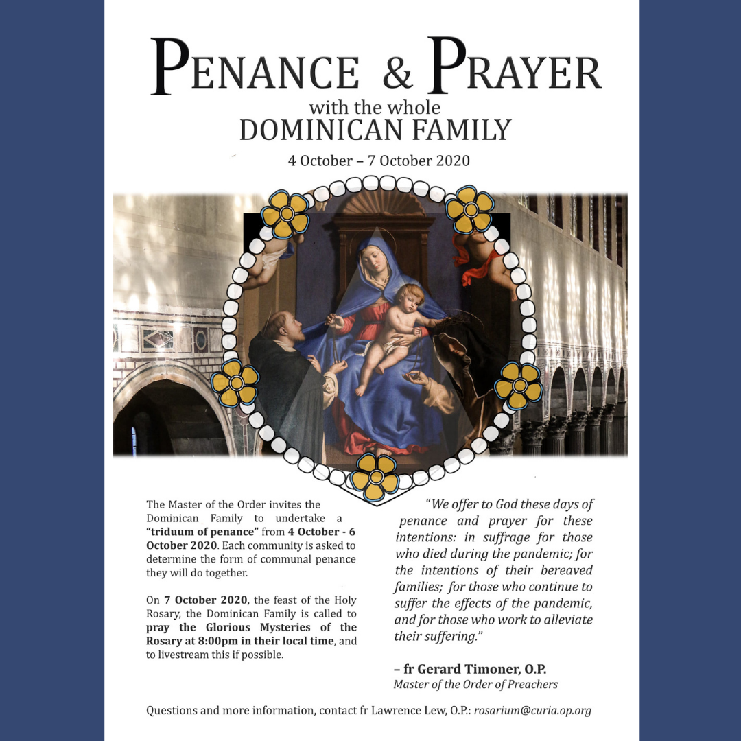 A message to the Dominican Family from the Master of the Order.