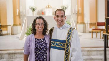 Rev. Br. Chris Johnson, OP, and his mother at his Ordination to the Diaconate in 2019