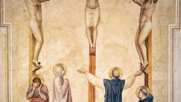 Crucifixion with Mourners and Sts Dominic and Thomas Aquinas by Fra Angelico (1441-42)