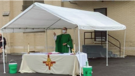 Fr. Steve Kuhlmann, O.P., celebrates drive-in Mass at St. Vincent Ferrer Parish in River Forest, Illinois